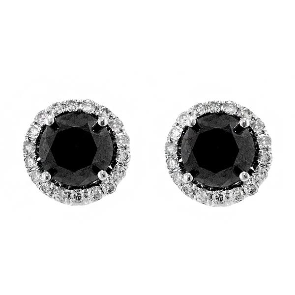 14k Black Halo 3.00tw Diamond Earrings