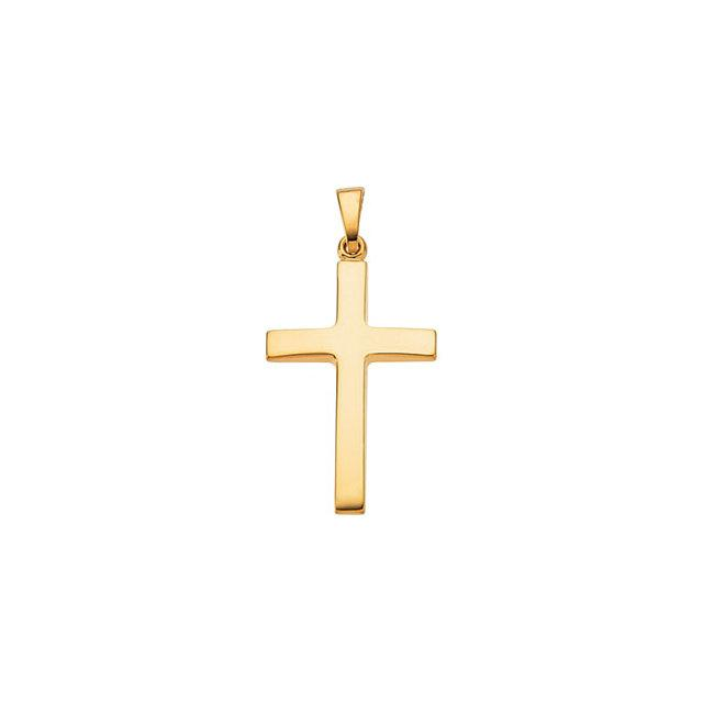 Plain Beveled Cross Pendant in 14K Yellow Gold