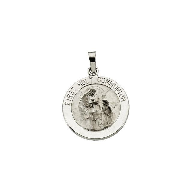 14k White Gold First Holy Communion Medal