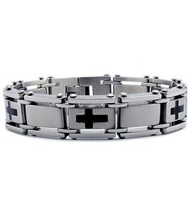 Stainless Steel Bracelet with Cross Design