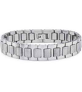 Stainless Steel Bracelet with Textured Design
