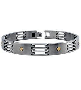 Stainless Steel Bracelet with Gold Accent Screws