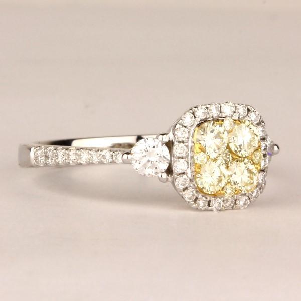 18k White Gold Yellow Diamond Ring