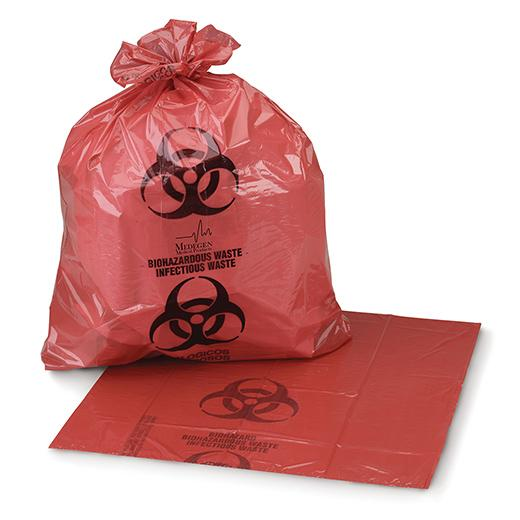 "Biohazard Waste Bags 1.25mil, Star Seal Red/Black 24"" x 24"", 8-10 Gallon"