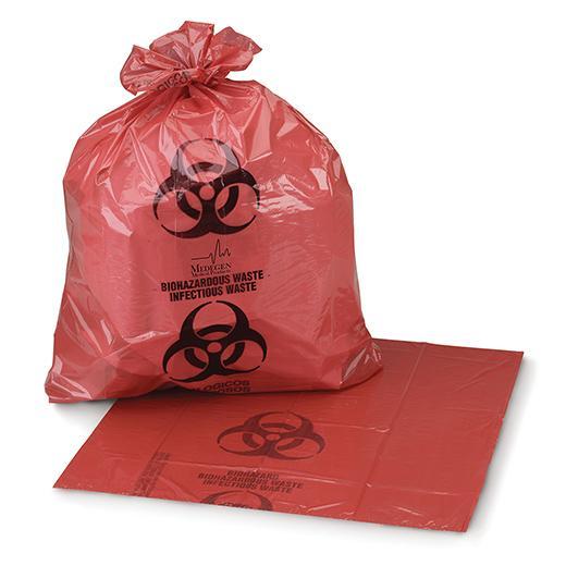 "Biohazard Waste Bags 1.25mil, Star Seal Red/Black 24"" x 24"", 8-10 Gallon"