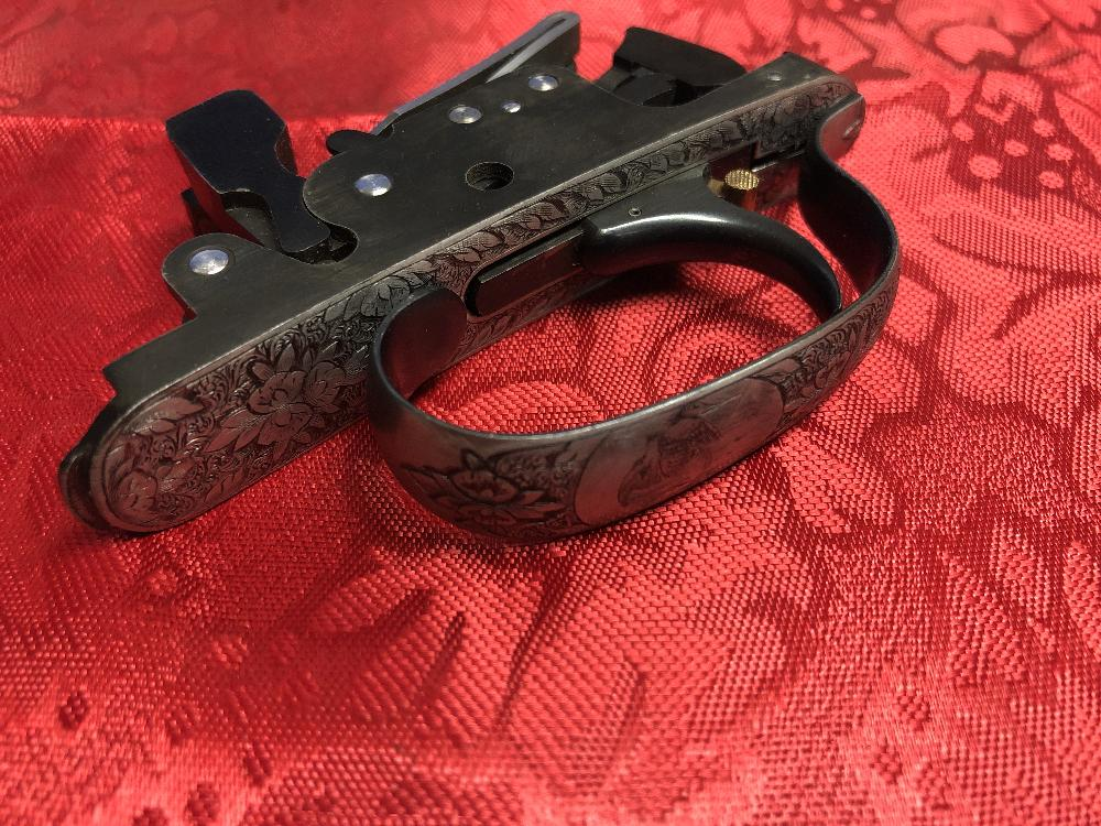MX MODEL FULLY ENGRAVED ADJUSTABLE BOTTOM FIRST LEAF SPRING TRIGGER GROUP - PRE OWNED