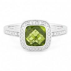 14k White Gold Peridot and Diamond Halo Ring